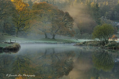 Rising Mist (jeanette_lea) Tags: landscape united kingdom river brathay elterwater the lake district cumbria sunrise dawn light mist frost autumn colours reflections trees grass water