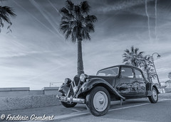 Out of Time... (frederic.gombert) Tags: traction avant black white bw car legend city seaside tree light sun morning seascape cityscape