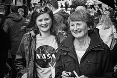 Smiles from NASA (Frank Fullard) Tags: frankfullard fullard candid street portrait smile nasa lady ladies happy castlebar mayo irish ireland black white blanc noir monochrome