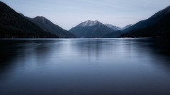 Storm King and Lake Crescent (Matthew James Lewis) Tags: washingtonstate water washington bluehour longexposure light landscape lakecrescent mtstormking olympicpeninsula olympicnationalpark olympicmountains snow sky reflection
