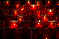 Quebec Cathedral Candles (GlobalGoebel) Tags: canonef24105mmf4lisusm canoneos5dmarkiii 24105mm quebec canada church basilica cathedral ourlady interior candles dark red travel travelphotography