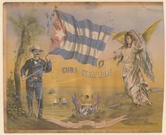 Cuba sera libre-Octubre 31 de 1873. 4 de Noviembre de 1973 por w. Urio (soldado quizas americano con bandera y la Victoria a la derecha) (lezumbalaberenjena) Tags: vintage old cuba cuban lezumbalaberenjena