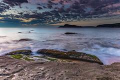 Gentle Seas and Pretty Clouds Sunrise Seascape (Merrillie) Tags: daybreak sunrise cumulus nature dawn coast water morning sea newsouthwales rocks pearlbeach nsw rocky waterscape ocean earlymorning landscape waves coastal clouds outdoors seascape australia centralcoast sky seaside