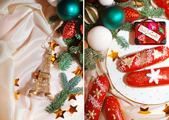 Gifts for me (Yulchonok) Tags: eclair food christmas holiday 50mm red composition diptych
