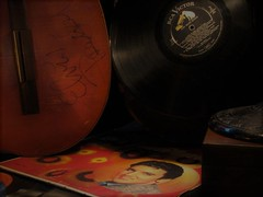 HEARTBREAK HOTEL (Rand Luv'n Life) Tags: monday music mania elvis presley 1958 golden records album signed guitar lp rock n roll 1950s indoor composition amber diffused lighting heartbreak hotel odc our daily challenge