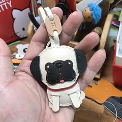 Ruby the pug leather bagcharm with initial H (leatherprince) Tags: pug dog pet bagcharm charm keychain