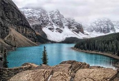 A View of Moraine Lake from the top of the Rock Pile (PhotosToArtByMike) Tags: morainelake banff banffnationalpark rockpile valleyofthetenpeaks canadianrockies albertacanada mountain mountains emeraldlake bluegreen turquoisecoloredwater