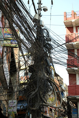 Wiring nightmare in Kathmandu Nepal (Dave Russell (1 million views thanks)) Tags: electric electrical wiring cable cables nightmare travel tourism street scene lamppost canon eos eos7d 7d