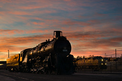 Thanksgiving Morning at the Depot - Pueblo, CO (Christopher J May) Tags: explored explore atsf co colorado goldenhour locomotive morning nikond800 nikonmicronikkor55mmf35 pueblo railroad santafe sky sunrise thanksgivingmorning train up uprr unionpacific clouds