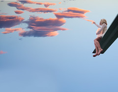 Pulling clouds (Lichon photography) Tags: cloud clouds sunset diving board lichonphotography lichon surrealism conceptual girl woman lady pull magical empower elven enchanted ethereal women witchcraft peachland