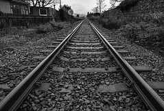 Distant (syf22) Tags: blackandwhite rail railway railroad railtrack straight distance distant far ahead parallel lines same direction euidistant rows course pair alongside coextend equal
