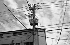 Electricity (Manuel Goncalves) Tags: cables kodaktmax400 nikonn90s nikkor28mm analogue 35mmfilm blackandwhite electricity japan tokyo epsonv500scanner