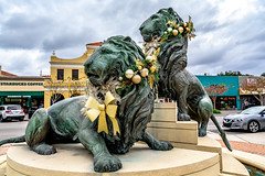 Christmas Lions (britt_hester) Tags: statues art sculpture jacksonville sanmarco christmas townsquare sonyalpha sonyimages sonya7ii bealpha florida