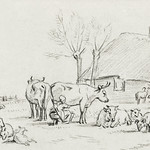 Farmyard with cattle and milking woman by Jean Bernard (1775-1883). Original from The Rijksmuseum. Digitally enhanced by rawpixel. thumbnail