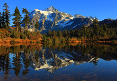 Picture Day. (deanhebert) Tags: reflection mountain landscape nature wilderness washington symmetry pond lake autumn fall colorful shuksan
