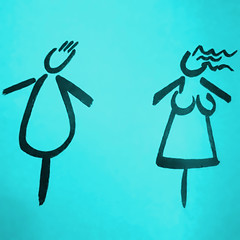 two people (vertblu) Tags: teal turquoise türkis drawing sign directionsign pictogram bsquare 500x500 vertblu minimal minimalism minimalismus illustration