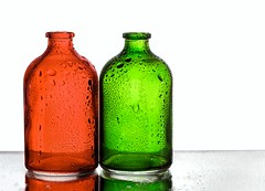 Red & Green (Karen_Chappell) Tags: red green white two 2 bottle bottles vase glass stilllife waterdrops product water colourful colours colour