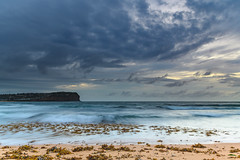 Cloudy Sunrise Seascape with Seaweed (Merrillie) Tags: daybreak sunrise nature water seaweed macmasters centralcoast morning sea newsouthwales rocks earlymorning nsw dawn clouds ocean landscape cloudy waterscape coastal macmastersbeach outdoors seascape australia coast sky waves