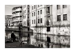 Fishing (PeteZab) Tags: fishing angler person canal water buildings light shadow reflection peterzabulis petezab uk nottingham blackandwhite bw