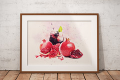 Sweet Pomegranate (zilvadesigns) Tags: sweet stilllife art watercolor painting drawing handdrawn paper artistic redish palatable edible food fruit pomegranate lythraceae juice healthy phytochemicals