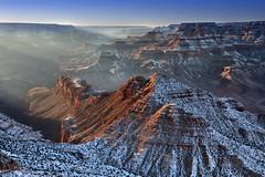 Cold Canyon (somewheredowntheroadphoto) Tags: grand canyon snow light shadows shadow deep valley beams nature natural ridge cold winter