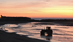 Tractor Silhouette Sunrise (Gilli8888) Tags: newbigginbythesea newbiggin northeast coast seaside northumberland sunrise shoreline seascape sun sky rocks beach turbines northsea nikon p900 coolpix silhouette silhouettephotography tractor coble vehicle newbigginbeach