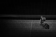 a traveller (heinzkren) Tags: schwarzweis blackandwhite bw sw monochrome urban people architecture indoor airport lines man wien vienna street streetphotography candid linien railing handrail geländer abgang zugang gate luggage trolley sony innamoramento dark black