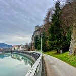Promenade by the river Inn below the Fortress in Kufstein, Tyrol, Austria thumbnail