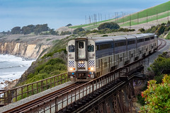 Amtrak Surfliner Roars Across the Arroyo Hondo Trestle (beltz6) Tags: railroad train locomotive bridfe trestle amtrak pacificsurfliner unionpacific southernpacific