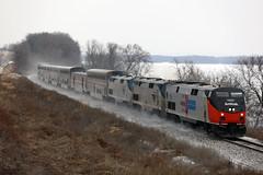 Amtrak 156 (Western WI Rail Images) Tags: amtrak empirebuilder heritageunit snow tracks water ice rocks clouds train ballast rails canon5dmarkiv
