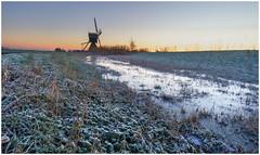 Cold sunrise at Broekmolen (Rob Schop) Tags: winter sunrise wimboon alblasserwaard broekmolen rijp frost ice windmill zuidholland wideangle sonya6000 samyang12mmf20 focusstack f11 bracket pscc lrcc