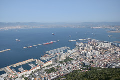 General View of Gibraltar... (Last Border of the Picture) Tags: gibraltar europe united kingdom great britain strait of bay city town territory overseas panoramic sky hill mount view general boat sea spain andalusia frontier building isthmus isthme rocher rock high haut far loin mediterranean upper
