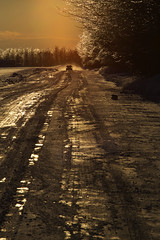 Mon rang (My road) (Nicole Barge) Tags: rang road path verglas ice sunset soleilcouchant voiture car hiver winter 2019 nicolebarge lueur