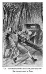 "Thug Nancy in ""The Mystery Of The Fallen Tree"" (Curtis Gaston) Tags: literature classic captions illustrations keene carolyn boys hardy drew nancy thug funny am reading library publishing art conceptual childhood"