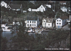 Postkort fra Agder (Avtrykket) Tags: bolighus brygge fiskeskøyte hus postkort seilbåt tollstasjon uthavn tvedestrand austagder norway nor