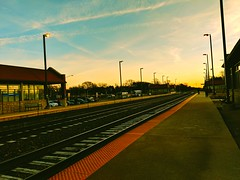 time to go to work (christiaan_25) Tags: commute commuting train trainstation depot tracks traintracks morning sky sunrise waiting metra suburbs