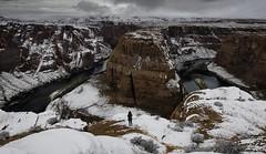 In Search Of Solitude (WJMcIntosh) Tags: horseshoebend winter snow page arizona glencanyon