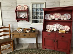 Cottage kitchen (Foxy Belle) Tags: doll miniature dishes make handmade ooak diy craft 16 scale food kitchen cottage country rustic charming transferware red white barbie blythe dollhouse furniture cabinet cardboard paper