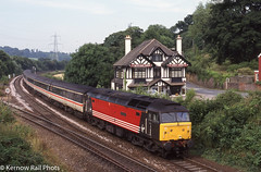 'Spirit of Chester' bound for Paignton - 2000 (Kernow Rail Phots) Tags: 47841 spiritofchester class47 virgintrains virgin trains train railway railways railroad cowleybridgejunction cowleybridge junction exeter saturday 22nd july 2000 2272000 2000s mk2 coaches summersaturday loco hauled trees buildings passengertrain devon gb uk 1v50 0840 glasgowcentral glasgow paignton