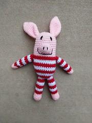 An Olivia inspired crochet pig in striped pajamas (crochetbug13) Tags: crochet crocheted crocheting crochetpig amigurumipig crochetstripes
