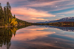 Rose Moon (Kirk Lougheed) Tags: alberta canada canadian canadianrockies jasper jaspernationalpark pyramidisland pyramidlake rockymountains autumn fall lake landscape moon nationalpark outdoor park reflection sunset water