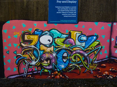 Pay and Display (Steve Taylor (Photography)) Tags: payanddisplay notice ladder jacobyikes eye leeya freak stones alien graffiti mural streetart tag sign carpark colourful vivid stone gravel rock newzealand nz southisland canterbury christchurch