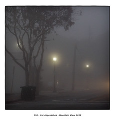Car Approaches (Godfrey DiGiorgi) Tags: mrokkor90mmf4 abstract color detail fog landscape neighborhood streetlamp tree urban mountainview california usa us