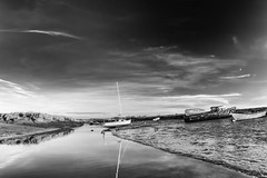 Moon Over Morston, Mono. (andybam1955) Tags: landscape nationaltrust morston clouds coastal morstonquay sky northnorfolk boats rural norfolk sea