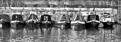 Narrowboats (@WineAlchemy1) Tags: narrowboats canal boats stpancraslock london regentscanal kingscross canalboats blackwhite monochrome noiretblanc water reflections industrialarchaeology brickwall mooring neroebianco