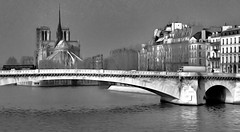 Paris Winter 1992 no. 4 (Carl Campbell) Tags: paris france modifiedphotograph manipulatedphotograph notredamedeparis bridge