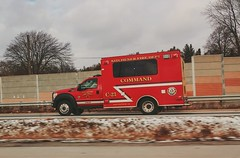 Kitchener Fire Department Command vehicle C-23  on Hwy 7/8 yesterday afternoon. (colin.taggart123) Tags: ford f450 firedept kitchener firebuff firstresponders car23