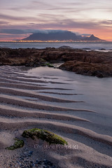 Table Mountain, Blouberg beach, Cape Town South Africa - Christine Phillips (Christine's Phillips (Christine's observations) - ) Tags: tablemountain capetown southafrica dramaticsunset dramaticsky sunset sand lines grooves vertical nopeople colour christinephillips interesting explore how amazing tide water dramatic