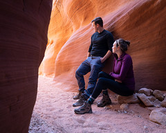 Adventure Partners (andrewpmorse) Tags: utah wirepass grandstaircase west southwest reflectedlight warm selfportrait canyon slotcanyon adventure wilderness desert dry canon canon5dmarkiv 5dmarkiv 5div 1635mmf4l portrait hiking