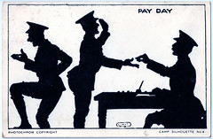 Pay Day in 1939. And Keep Calm and Carry On. (pepandtim) Tags: postcard old early nostalgia nostalgic pay day payday 1939 camp silhouette series photochrom tunbridge wells great britain england folkestone 04081939 32pay97 waters sevenoaks lodge shire lane downe kent beat beatrice food tent les home secretary samuel hoare keep calm carry on poster
